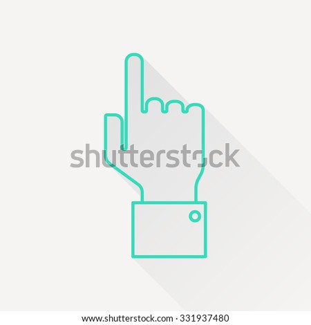 Vetor green outline hand pointer icon on white background with long shadow  - stock vector