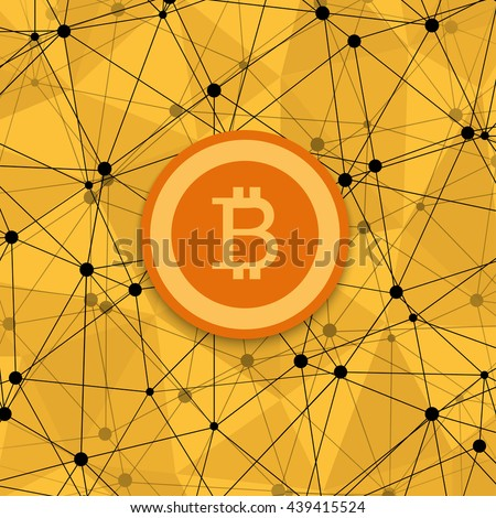 vetor modern concept of bitcoin, new money and polygonal background - stock vector
