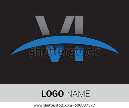 VI initial logo company name colored grey and blue swoosh design.