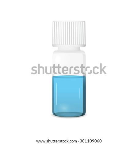 Vial illustration on white background, lab glassware, 3d vector, eps 10 - stock vector