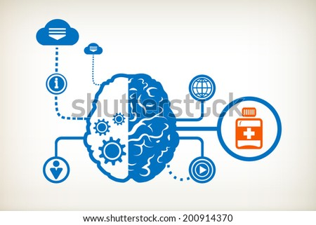 Vial of medicine and abstract human brain, the concept of the information movement
