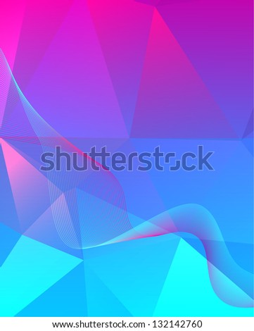 Vibrant abstract polygon background with simple blend of two curves / polygon abstraction