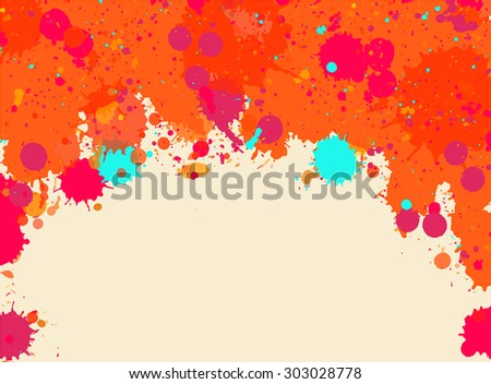 Vibrant bright orange watercolor artistic splashes frame with room for text, horizontal format.