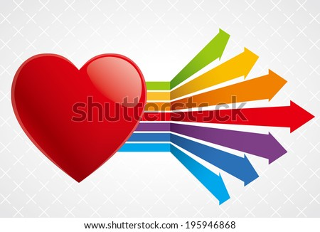 Vibrant colors arrow growth heart shape - stock vector