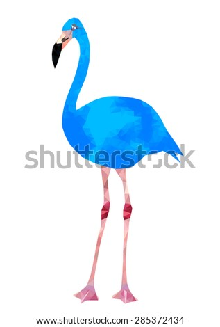 Vibrant dark blue flamingo bird low poly triangle vector image - stock vector