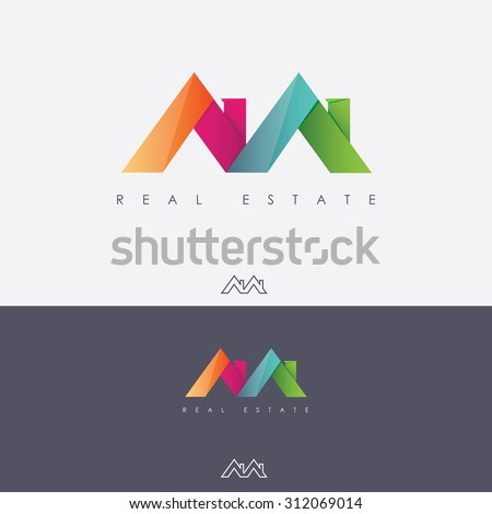 Vibrant multicolored real estate logo design in letter m shape made of abstract roof tops - stock vector
