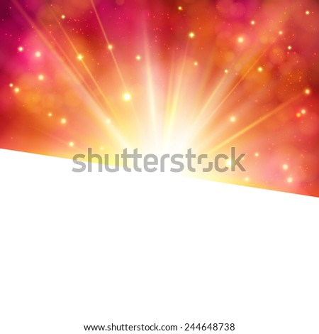 Vibrant party invitation or card with a bright star burst on a sparkling red abstract background over blank white copyspace for your text or advertisement, vector illustration - stock vector