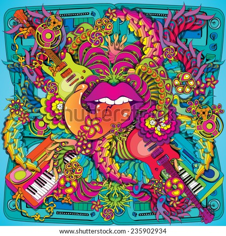 Vibrant psychedelic music lips illustration - stock vector