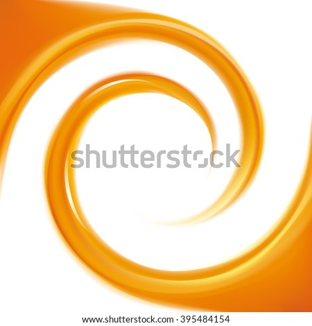 Vibrant ripple fluid fond with space for text in glowing white milk center. Beautiful curl fluid surface vivid hot golden color. Circle fresh mix sweet carrot, apricot, melon, pumpkin dessert syrup - stock vector