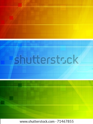 Vibrant technical banners - stock vector