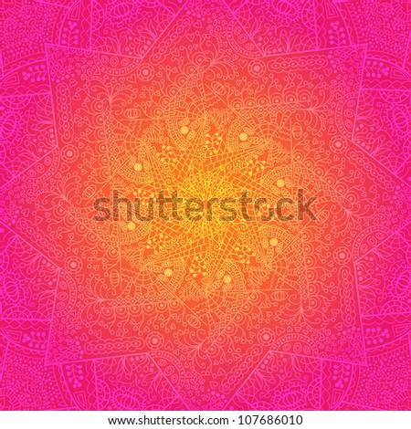 Vibrant Vintage Ornament Pink Card. Vector Mandala Element - stock vector
