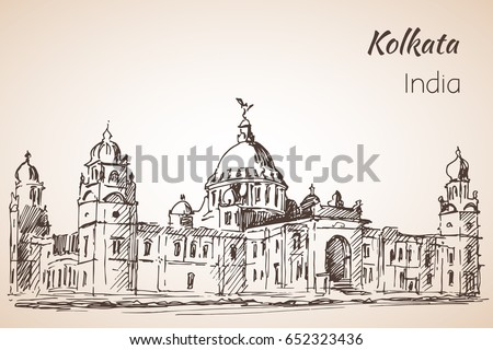 Victoria hall sketch of indian city kolkata isolated on white background