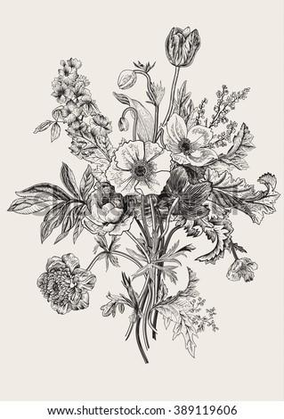Victorian Bouquet Spring Flowers Poppy Anemones Tulips Delphinium Vintage Botanical