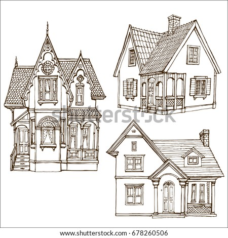 Victorian Cute Little Houses Set Outline Stock Vector ...