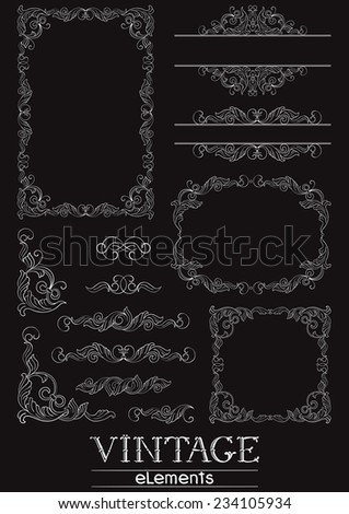 Victorian design elements. Vector  Set of Victorian  Calligraphic  frames, Element and corner details on black background at retro style. - stock vector
