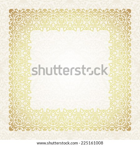 Victorian style frame. Vintage floral background. Border with twisted swirls. Template for design.Luxury style ornament in arabic motif.Vector illustration  - stock vector