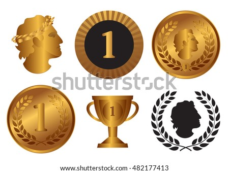 Victory, achievement and success symbols. Medals, trophy cup, badge of honor, profile of the winner,  laurel wreath, first place sign. Vector illustration