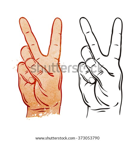 Victory and Peace Gesture Symbol. Vector Illustration