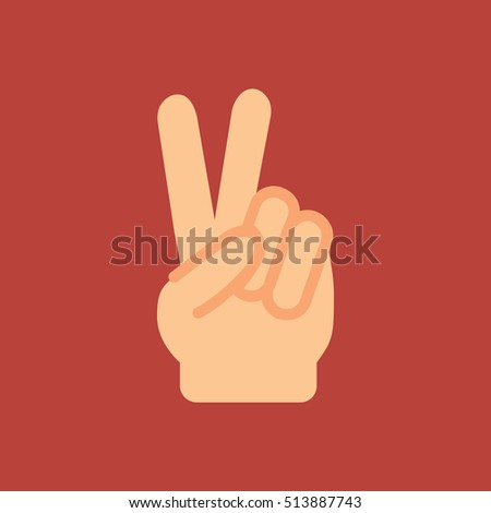 victory hand sign icon. flat design