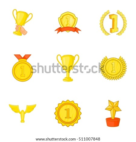 Victory icons set. Cartoon illustration of 9 victory vector icons for web