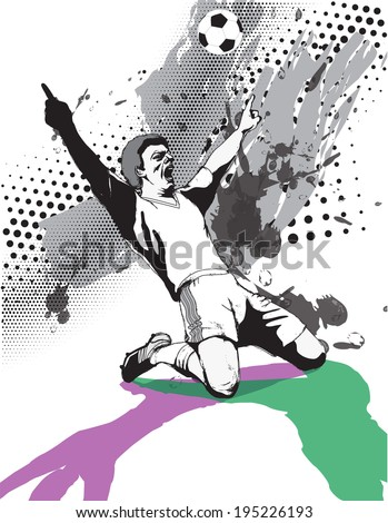 victory of the football player on the pitch in black and white.vector illustration
