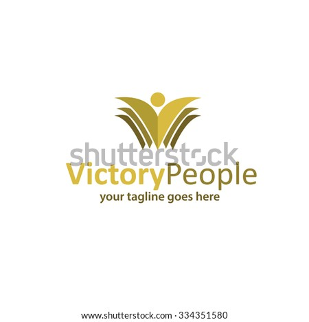 Victory People, group of people logo - stock vector