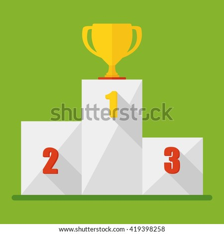 Victory Podium with first, second and third place. Conceptual image competition winner.Cartoon flat vector illustration. Objects isolated on a background.  - stock vector
