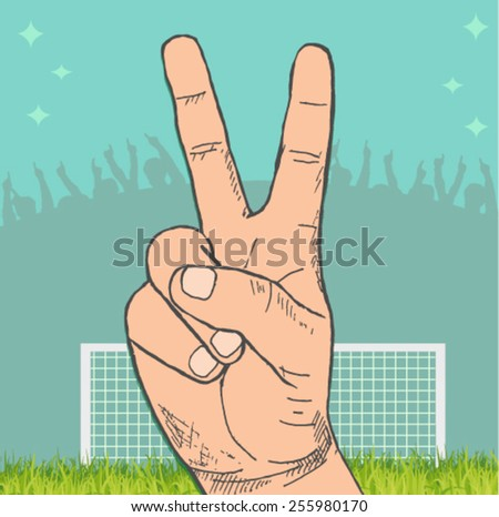 victory sign with a stadium in the background  - stock vector