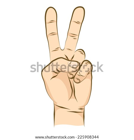 Victory sign with two fingers from the palm of your hand. Number 2 fingers. Realistic human hand colored version. - stock vector