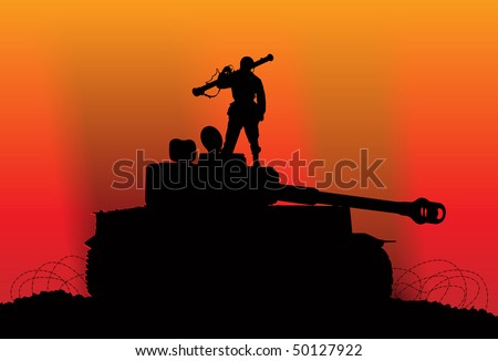 Victory. Silhouette of a soldier on the destroyed enemy tank - stock vector