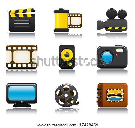 Video and Photo Icon Set One. Easy To Edit Vector Image. - stock vector