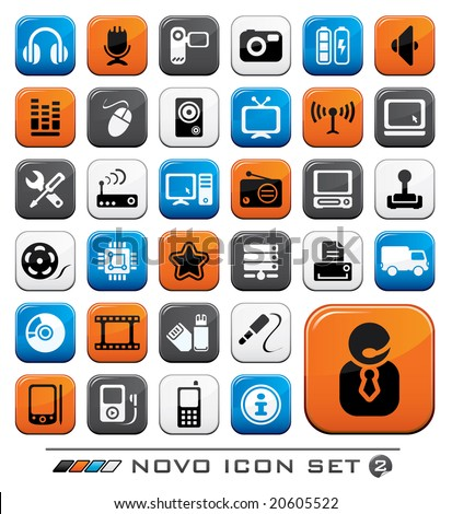 Video Audio And Computer Icon Buttons Set. Novo Series. - stock vector