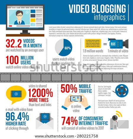 Video blog infographics set with social media information symbols vector illustration - stock vector