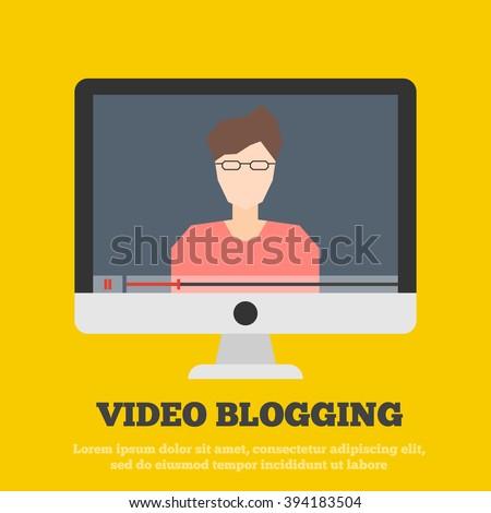 video blog vector illustration. vlog concept  - stock vector