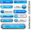 Video blue web buttons for website or app. Vector eps10. - stock photo