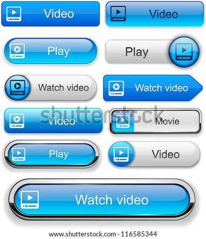 Video blue web buttons for website or app. Vector eps10. - stock vector