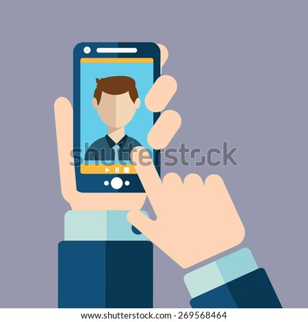 Video call, Online conference smart phone - stock vector