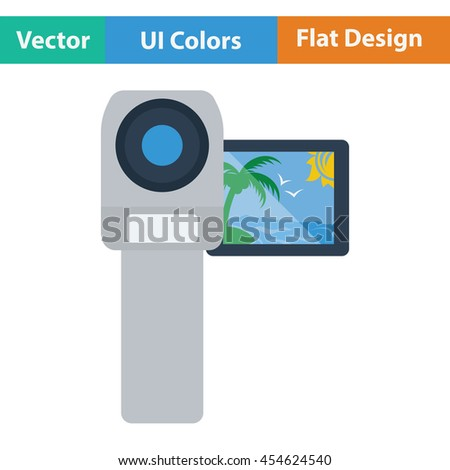 Video camera icon. Flat color design. Vector illustration. - stock vector