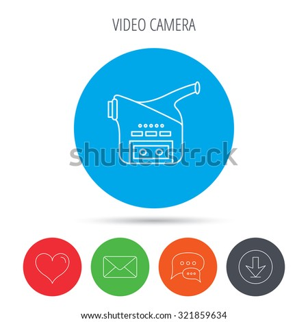 Video camera icon. Retro cinema sign. Mail, download and speech bubble buttons. Like symbol. Vector - stock vector