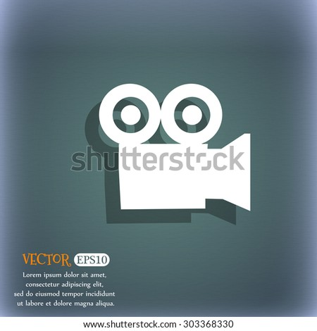 video camera icon symbol on the blue-green abstract background with shadow and space for your text. Vector illustration - stock vector
