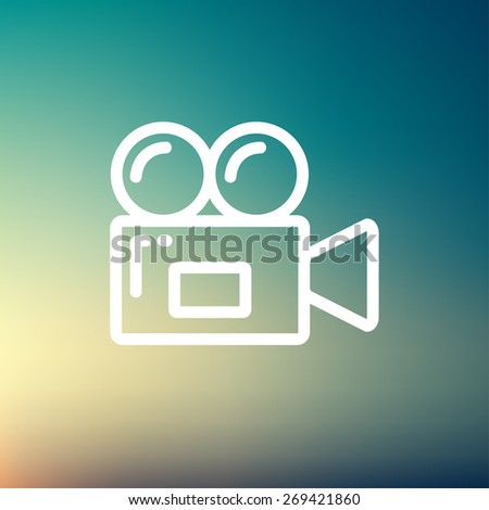 Video camera icon thin line for web and mobile, modern minimalistic flat design. Vector white icon on gradient  mesh background. - stock vector