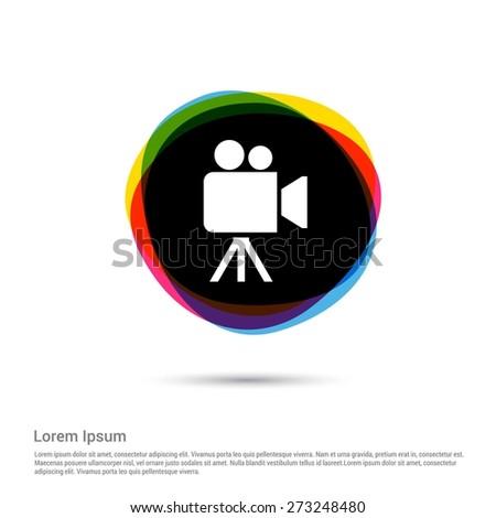 Video camera icon, White pictogram icon creative circle Multicolor background. Vector illustration. Flat icon design style - stock vector