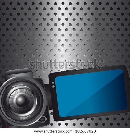 video camera over silver background with circles. vector  illustration - stock vector