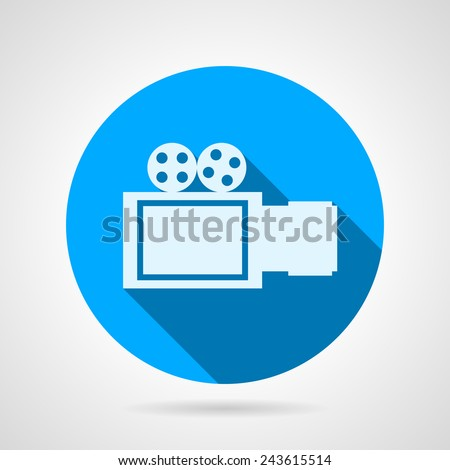 Video camera sign flat vector icon. Blue round vector icon with white silhouette video camera a side view on gray background. Flat design with shadow. - stock vector