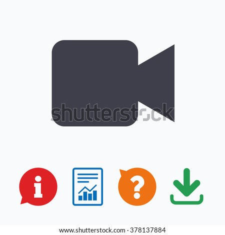 Video camera sign icon. Video content button. Information think bubble, question mark, download and report. - stock vector