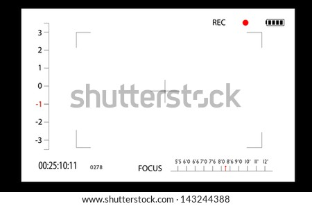 Video camera the image via the view-finder - stock vector