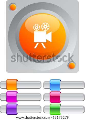 Video camera vibrant round button with additional buttons. - stock vector