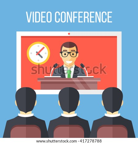 Video conference flat illustration. Businessmen sitting on chair, boss speaking from digital flat screen. Online meeting, video call, modern communication technology concepts. Vector illustration - stock vector