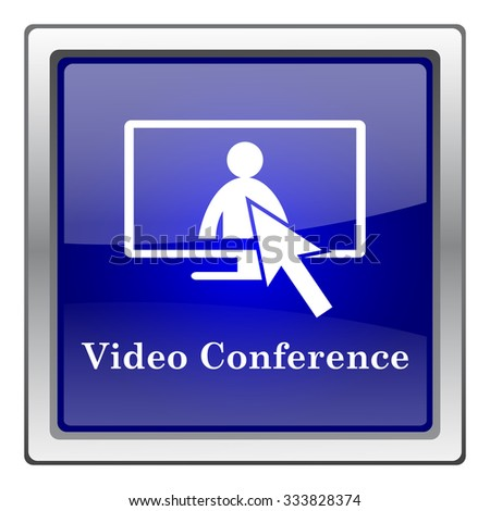 Video conference, online meeting icon. Internet button on white background. EPS10 vector. - stock vector