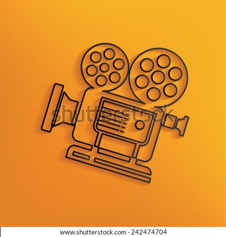 Video design on yellow background,clean vector - stock vector